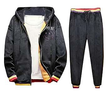 0cabfb9502 Fubotevic Mens Winter 2 Piece Suits Hooded Coat Jogger Pants Pleuche ...