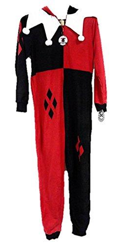 Joker Costumes Union Suit (DC Comics Harley Quinn Villain One Piece Women's Union Suit Onesie Pajama Costume (M 8/10))
