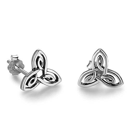 (925 Sterling Silver Trinity Celtic Knot Stud Earrings)