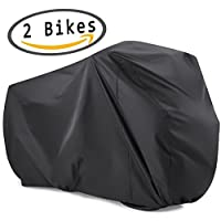 viaky 2 Bicycle Cover Two Cycle Mountain Bike/Road Bike Rain Cover ! Waterproof and Anti Dust Rain UV Protection (Black)