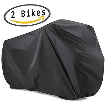 viaky 2 Bicycle Cover Two Cycle Mountain Bike/Road Bike Rain Cover ! Waterproof and Anti Dust Rain UV Protection (Black)
