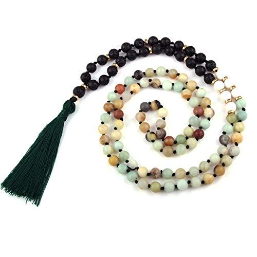 GVUSMIL 108 Mala Beads Meditation Necklace Natural Gemstone Charm Jewelry Buddha Buddhist Prayer Beads/Tassel Necklace