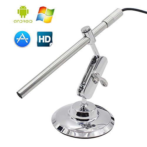 GIWOX Handheld Stainless Steel HD Digital USB Microscope Endoscope with Waterproof HD Camera Head & 2-in-1 USB Plug for Windows, Mac & Android Operation System (160cm Cable)