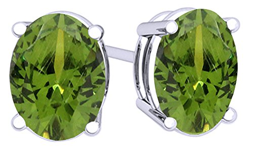 (Simulated Green Peridot Oval Shape Stud Earrings In 14K White Gold Over Sterling Silver)