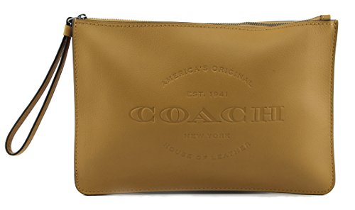 COACH HUDSON NATURAL LEATHER POUCH (MUSTARD)