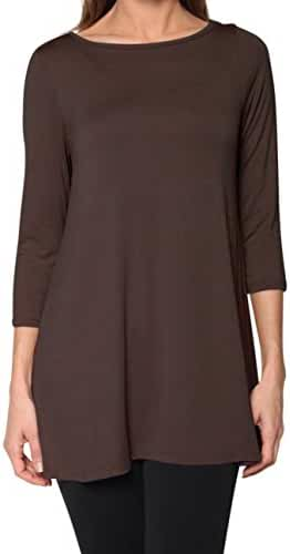 Free to Live Women's Long Flowy Elbow or Long Sleeve Jersey Tunic Made in USA