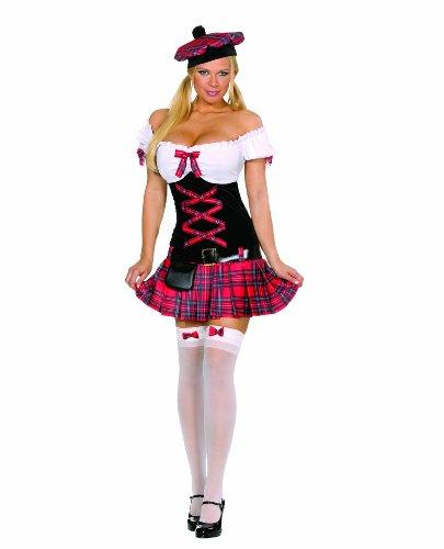 Dreamgirl Women's Sassy Lassie Costume,Red,Medium (Scottish Girl Halloween Costume)