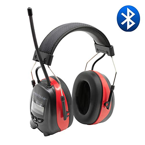 PROTEAR Bluetooth & Radio AM/FM Hearing Protection Headphones, Noise Reduction NRR 25dB Safety Earmuffs - Rechargeable 1200 mAh Lithium Battery Ear Protector for Mowing Lawn