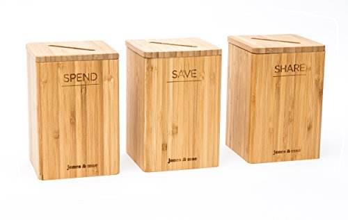 Spend Save Share Money Savings Bamboo Piggy Banks And Educational Guide | The Simplest Way To Teach Your Kids About Money | The Trio Method by Jones & Mae