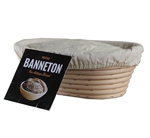 PEFSO 2pcs 10 Inch Oval Banneton Rattan Bread Proofing Basket Brotform for Artisan Sourdough Bread