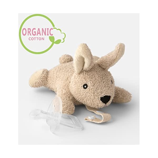 Organic Pacifier Holder- Orthodontic Baby Pacifier with Animal & Microwaveable Soothie & Natural Teether & Pacifier Clip – PureLittle Bunny: Natural Pacifier Stuffed Animal Paci Plushies Binky Buddy