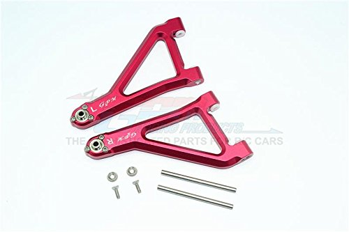 GPM Traxxas Unlimited Desert Racer 4X4 (#85076-4) Upgrade Parts Aluminum Front Upper Suspension Arm - 8Pc Set Red