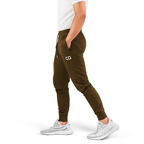 (Contour Athletics Men's Joggers (Cruise) Sweatpants Men's Active Sports Running Workout Pants with Zipper Pockets (Olive) (Large) (CA1003-LO) )