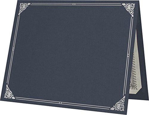 9 1/2 x 12 Certificate Holders - Dark Blue Linen - Silver Foil Floral Border (250 Qty.) | Perfect for Award Recognition, Certificates, Documents and More! | CHEL-185-DDBLU100-FLORALSF-250 by Envelopes.com