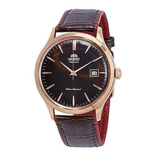 - Orient Men's Bambino Version 4 Stainless Steel Japanese-Automatic Watch with Leather Calfskin Strap, Brown, 22 (Model: FAC08001T0