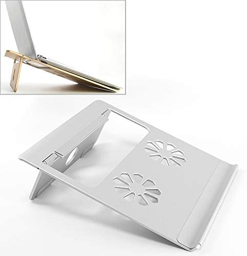 Color : Silver Universal Portable Foldable Hollow Radiating Aluminum Laptop Desktop Stand for Laptops Under 17 inch