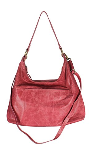 Leather Linen Hobo Bag (Latico Leathers Roberta Shoulder Bag, Berry, One Size, 100% Leather, Designer Handbag, Made In India)