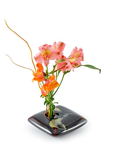 Georgetown Pottery Square Ikebana Flower Vase, Black Wave