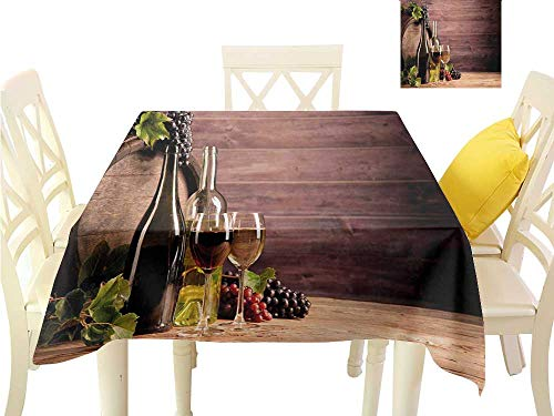 familytaste Table Cover Tablecloth Wine,Still Life of Wine with Wooden Keg Rustic Concept Tasting Viticulture,Brown Green Pale Brown Fabric Decorative Table Top Cover W 70