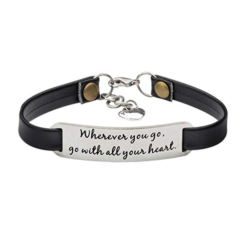 UNQJRY Graduation Jewelry for Women Inspirational Leather Bracelet Wherever You go, go with All Your -