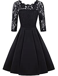 ihot Women's Vintage 2/3 Sleeve Floral Lace Cocktail Formal Bridesmaid Party Dress