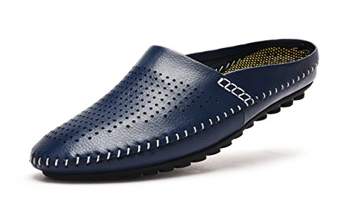 Blue Leather Athletic Shoes (V.J Men's Breathable Leather House Slippers Office Comfort Slip On Casual Driving Shoes Beach Sandals KS805-LAN46-11.5)