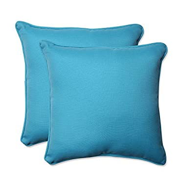 Pillow Perfect Outdoor Veranda Turquoise Throw Pillow, 18.5-Inch, Set of 2