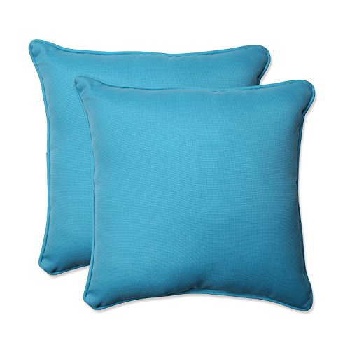 Pillow Perfect Outdoor Veranda Turquoise Throw Pillow, 18.5-Inch, Set of 2 (Pillow Outdoor Solid)