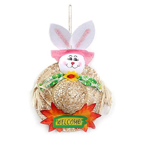 Party DIY Decorations - Diy Easter Decoration Straw Hat Rabbit Door Hanging Wreath Home Wall Window Garden Decor Party - Party Decorations Party Decorations Christma Wreath Decor Easter T]()
