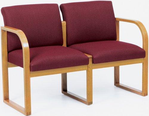 Lesro R2401G3 Two Seat Sofa fabric Transport Navy finish Walnut