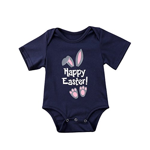 Munimini Happy Easter Rabbit Funny Baby Boys Girls One Piece Outfit Romper Summer Bodysuit  18 24 Months  B