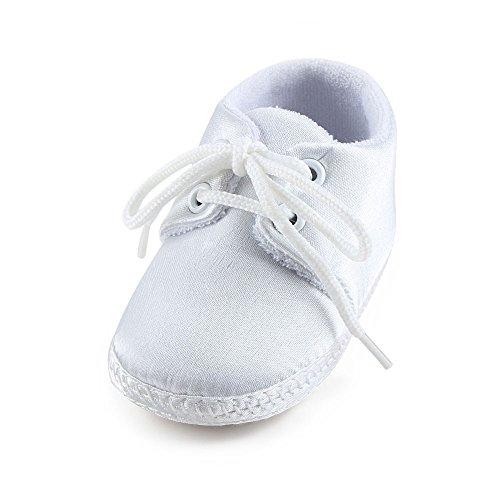 OOSAKU Baby Boys White Lace Up Christening Baptism Dress Shoes (6-9 Months, White01)