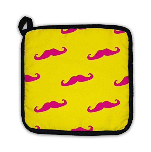[Gear New Pot Holder, Pattern With With Neon Pink Mustache On Sunny Yellow, GN1187] (Dali Mustache Costume)