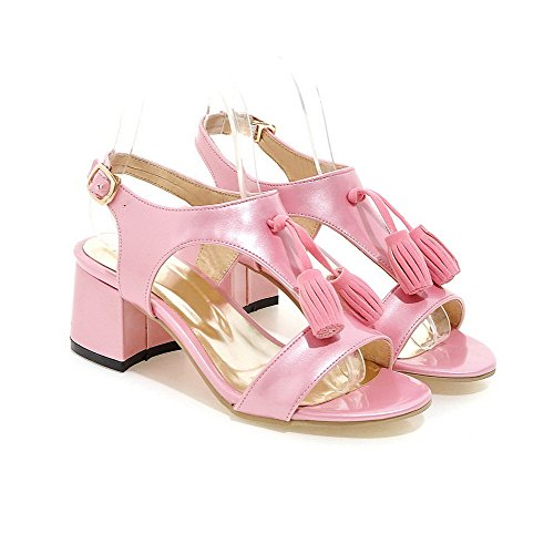 AllhqFashion Women's Buckle Kitten Heels Patent Leather Solid Open Toe Sandals Pink D35br