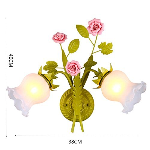 38 Retro Dormitorio Sal/ón L/ámpara de Pared Flower Shop L/ámpara de Pared Cafeter/ía Tienda de ropa escaleras corredor verde de cristal L/ámpara de pared 2 Jefes E27 BFMAOYI L/ámpara de Pared Flor rosa
