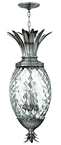Hinkley 2222PL Leaf, Flower, Fruit Four Light Pendant Foyer from Plantation collection in Pwt, Nckl, B/S, -