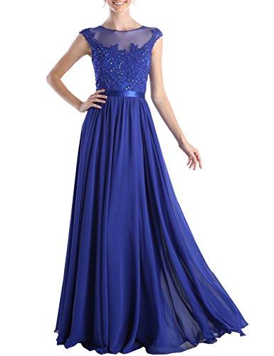 Bodenlänge A Erosebridal Blume mit Rüschen Abendkleid Chiffon Blau 1TTdCqw