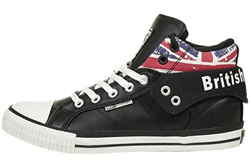 Sneaker Da Uomo Britannico Cavaliere Alta Rocco In Tessuto Nero / Union Jack
