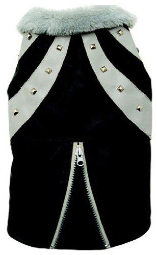 Dogit Faux Leather Biker Dog Jacket, Large, Black