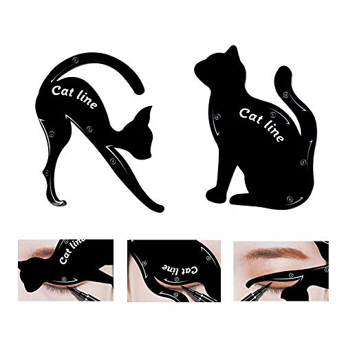 TailaiMei 2 Pcs Cat Eyeliner Stencils, Matte PVC Material Smoky Eyeshadow Applicators Template Plate, Cat Shape Eye liner & Eye Shadow Guide Template Tool