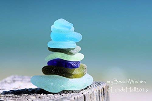 Beach Glass Photography- Sea Glass Cairn, balanced, calming art by myBeachWishes