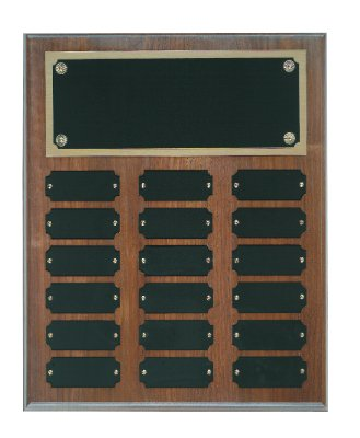 Genuine Walnut Perpetual Plaque - 18 Plate Perpetual Plaque 10 1/2