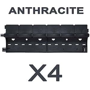 greenparck–l0600a/X4–bordes de jardín de resina Composite Antracita–Lote de 4piezas