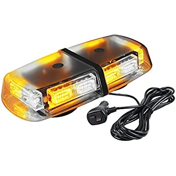 LE-JX 72 LEDs 12-24 Volt Amber High Intensity Hazard Emergency Warning Lights Bar Mini Led Strobe Roof Top Beacon Light Rotatingfor Trucks Vehicles Snow Plow Police Firefighters with Magnetic Base