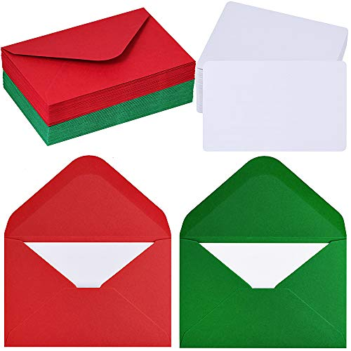 50 Sets Christmas Holiday Colors Mini Envelopes with White Blank Business Cards Note Cards Red Green Small Gift Card Tiny Envelopes Pocket Envelopes Bulk 4 x 2.7 Love Notes