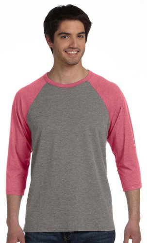 Bella 3200 Unisex 3 By 4 Sleeve Baseball Tee - Grey & Red Triblend, - Red Grey