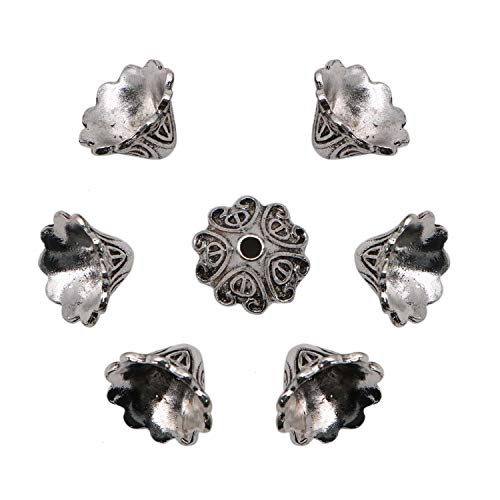 JETEHO 50 PCS Flower Bead Caps Tassel Cup Shape End Cap Lead Free Antique Silver Jewelry Making, 10mm16mm ,Tibetan Style