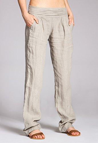 Beige Pantaloni Donna Di Caspar Lino Khs020 wZ7YBY