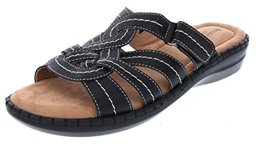 Pro Womens Sandal Sandals (SW Women's Pabla Wedge Woven Slide Sandal 9.5 Black)