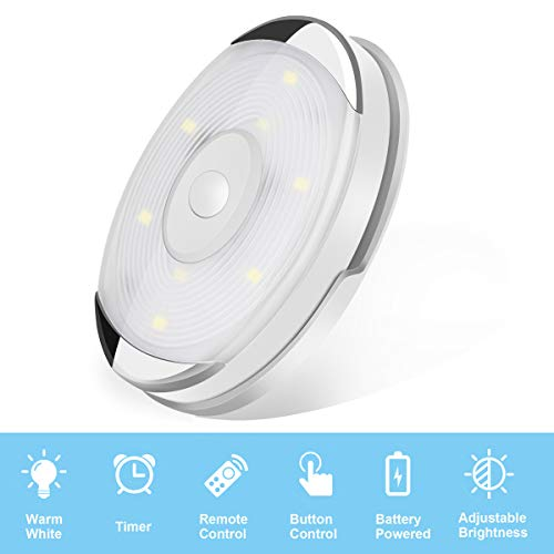 LED Puck Lights,Wireless Under Cabinet Lighting,Battery Powered Lights, Night Lights with Remote Control Dimmer Timing Function,Closet Lights, 4000K Natural White, 6 Pack